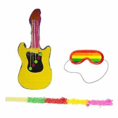 Pinata gitaar vorm 79 cm set + stok + blinddoek