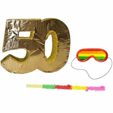Pinata goud 50 jaar leeftijd + stok + blinddoek
