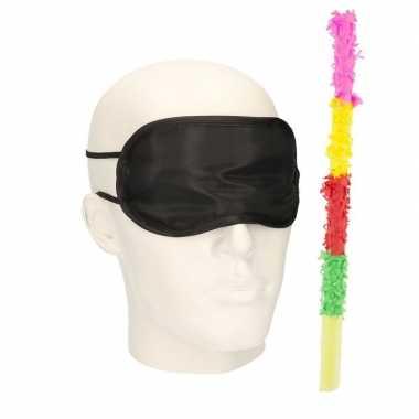 Pinata oogblinddoek/blinddoek met gekleurde pinata stok