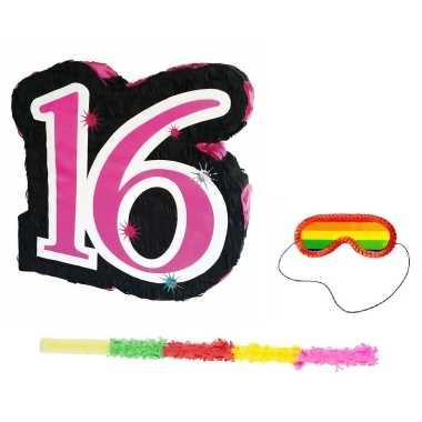 Pinata sweet sixteen 16 jaar set + stok + blinddoek