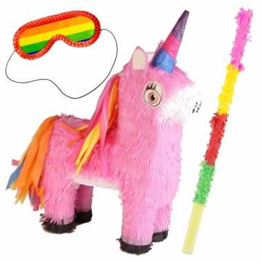 Pinata van een unicorn/eenhoorn set met blinddoek en stok