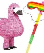 Pinata van een flamingo set met blinddoek en stok