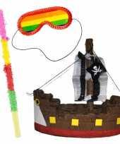 Pinata van een piratenboot set met blinddoek en stok